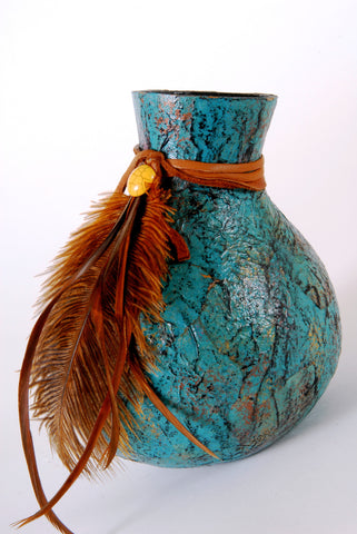 Turquoise Paper Gourd