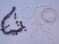 "Wire Gemstone Tree Pendant Kit #5  ""Amethyst Stones"""