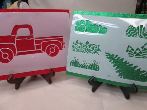 Red Truck & Holiday Stencils package #2 - Small Set.