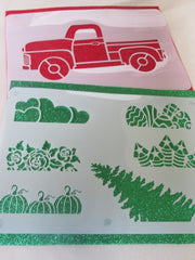 Red Truck & Holiday Stencils package #1 - Large Set