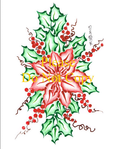 Poinsettia & Holly Pattern