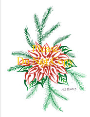 Poinsettia & Pine Needles Pattern