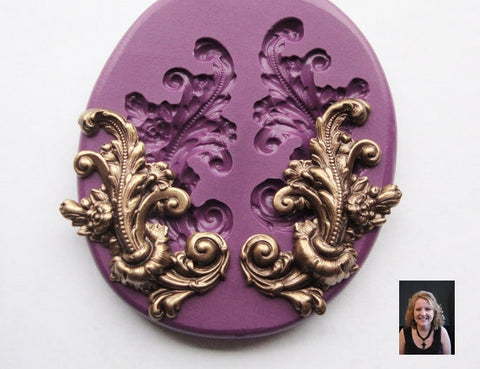 Elegant Flower and Leaf Scrollwork (Right and Left sides) Mold