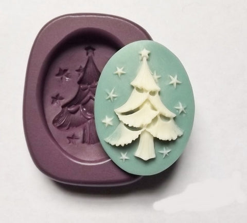 Christmas Tree with Stars Silicone Mold