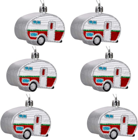 """HOLIDAY FUN TEARDROP TRAILERS""  (2) Ornaments Package"