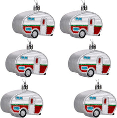"""HOLIDAY FUN TEARDROP TRAILER""  (2) Ornaments Package"