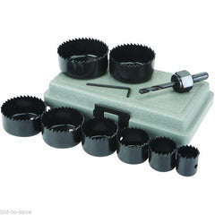 "HOLE SAW KIT 3/4"" - 5"" Diameter SET of 11 pieces + CASE Drill Bit Mandrels "" ON SALE """