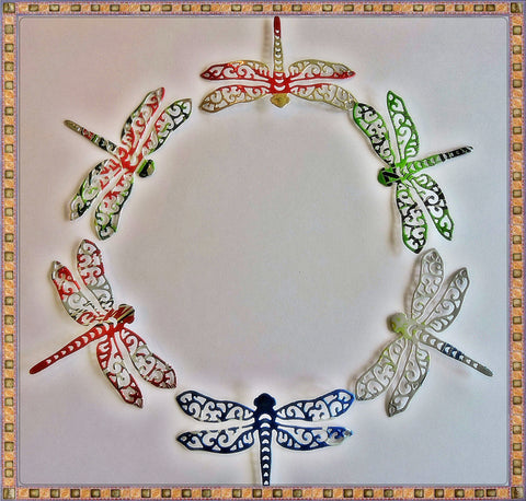 """Up-Cycled"" Die Cut ""Colorful"" Dragonfly Embellishments"