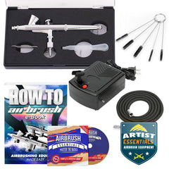 Dual Action Airbrushes Kit Set With Compressor for Gourds, Nails or Cakes!