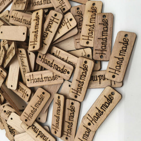 """Handmade"" Wooden Tags - (50) Tags"