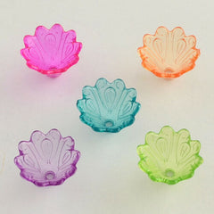 "Transparent Color Mixed ""VITRAIL"" Flower Bead Caps"