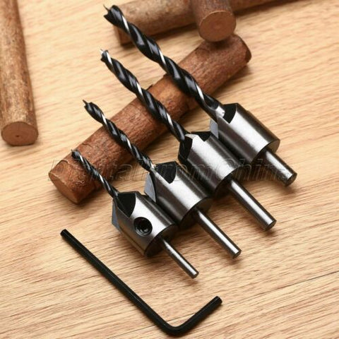 HSS Flute Countersink Drill Bit Set Woodcrafting Chamfer Tool 3-6mm S