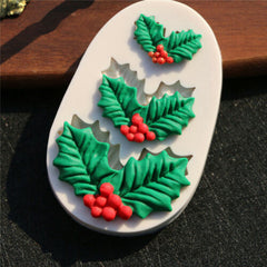 "Christmas Holly Silicone Mold - ""3"" Molds in One!"