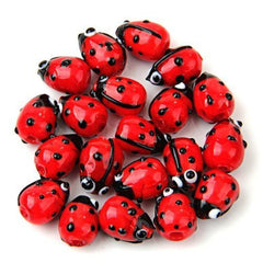 (20) Red Lampwork Glass Lady bug