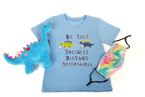 Safety is Cute! Set - Socially Distant Stegosaurus (Pastel Tie-Dye Mask)