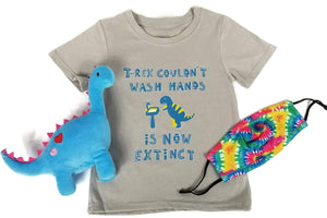 Safety is Cute! Set - T-Rex Can't Wash Hands (Primary Colors Tie-Dye Mask)