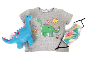 Safety is Cute! Set - Signature Dino Tee (Pastel Colors Tie-Dye Mask)