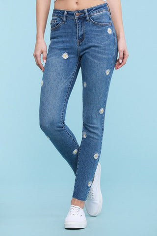 Daisy embroidery skinny jeans