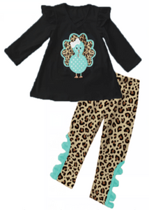[PREORDER] Fall Preorder: Mint and Leopard Turkey Friend Outfit