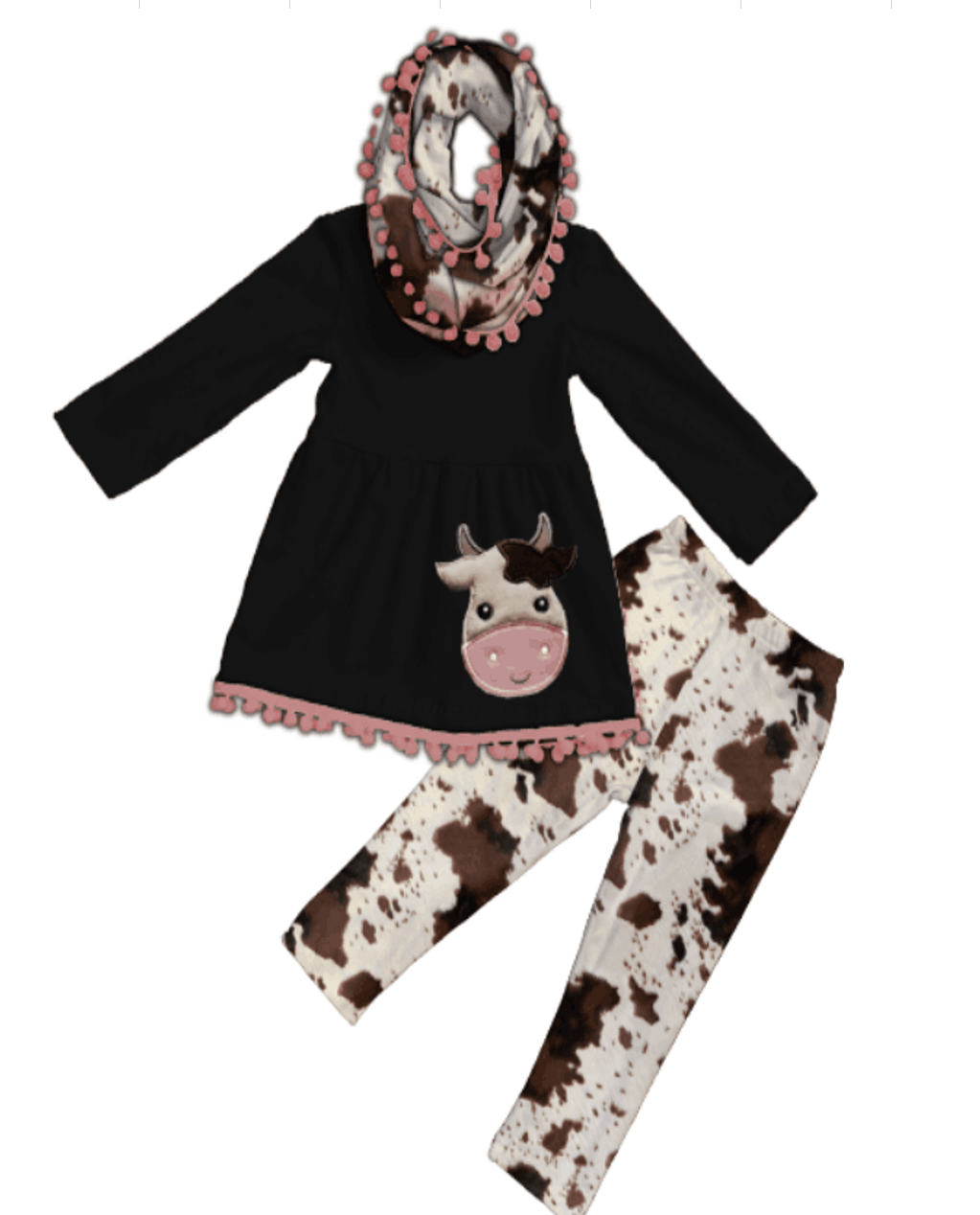 [PREORDER] Friendly Moo Cowhide Pom Scarf Outfit - Fall Preorder