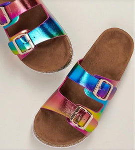 Metallic rainbow sandal