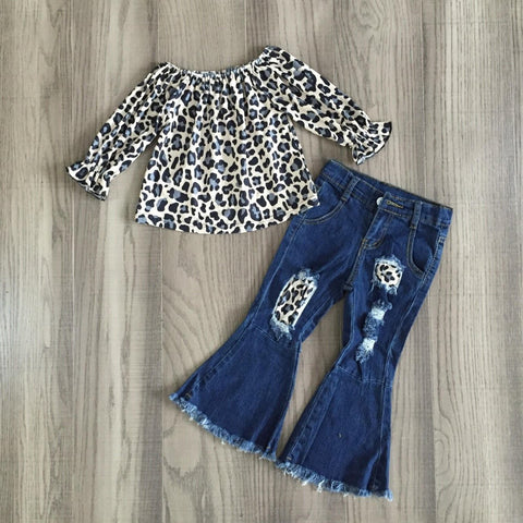 [PREORDER] Fall Preorder: Gray Leopard Top with Distressed Denim Bell Bottoms