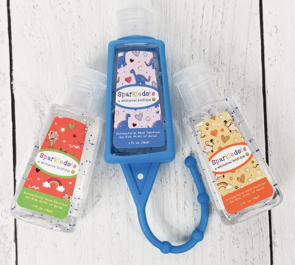 Sparkledots Hand Sanitizer 3-Pack w/Blue Backpack Holder