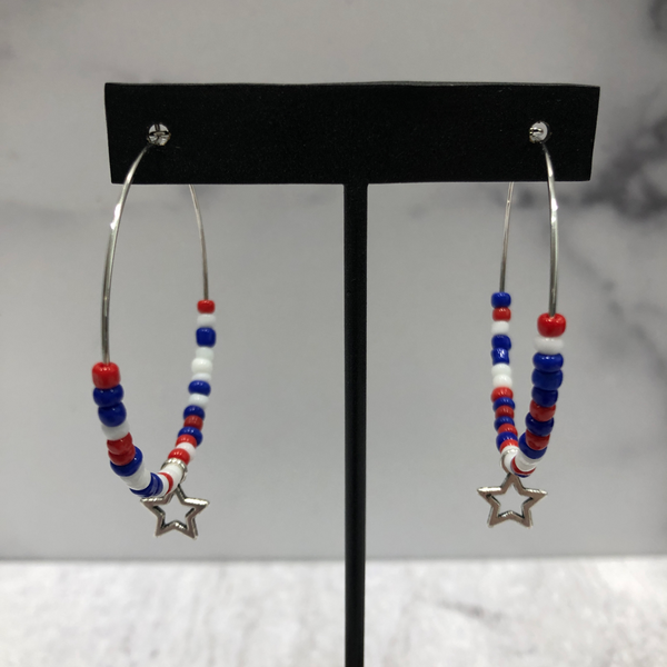 Red, white and blue hoop earrings