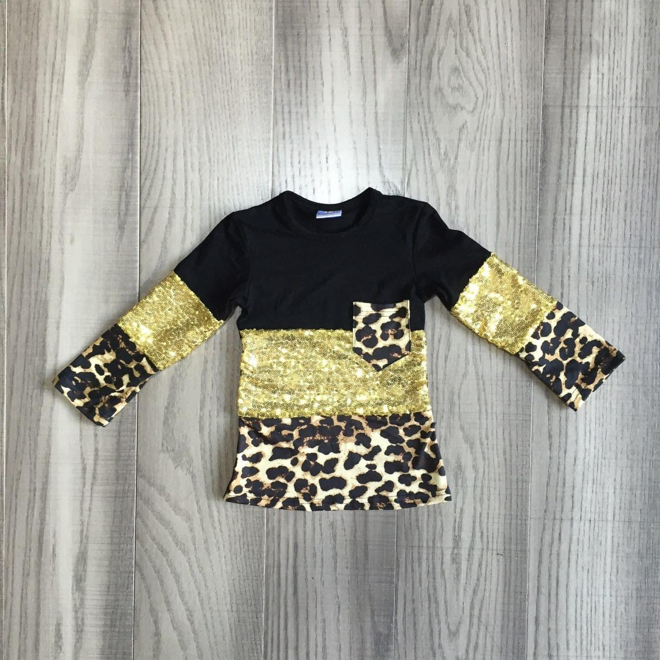 Black and Gold Sequin Leopard Pocket Tee (Child)