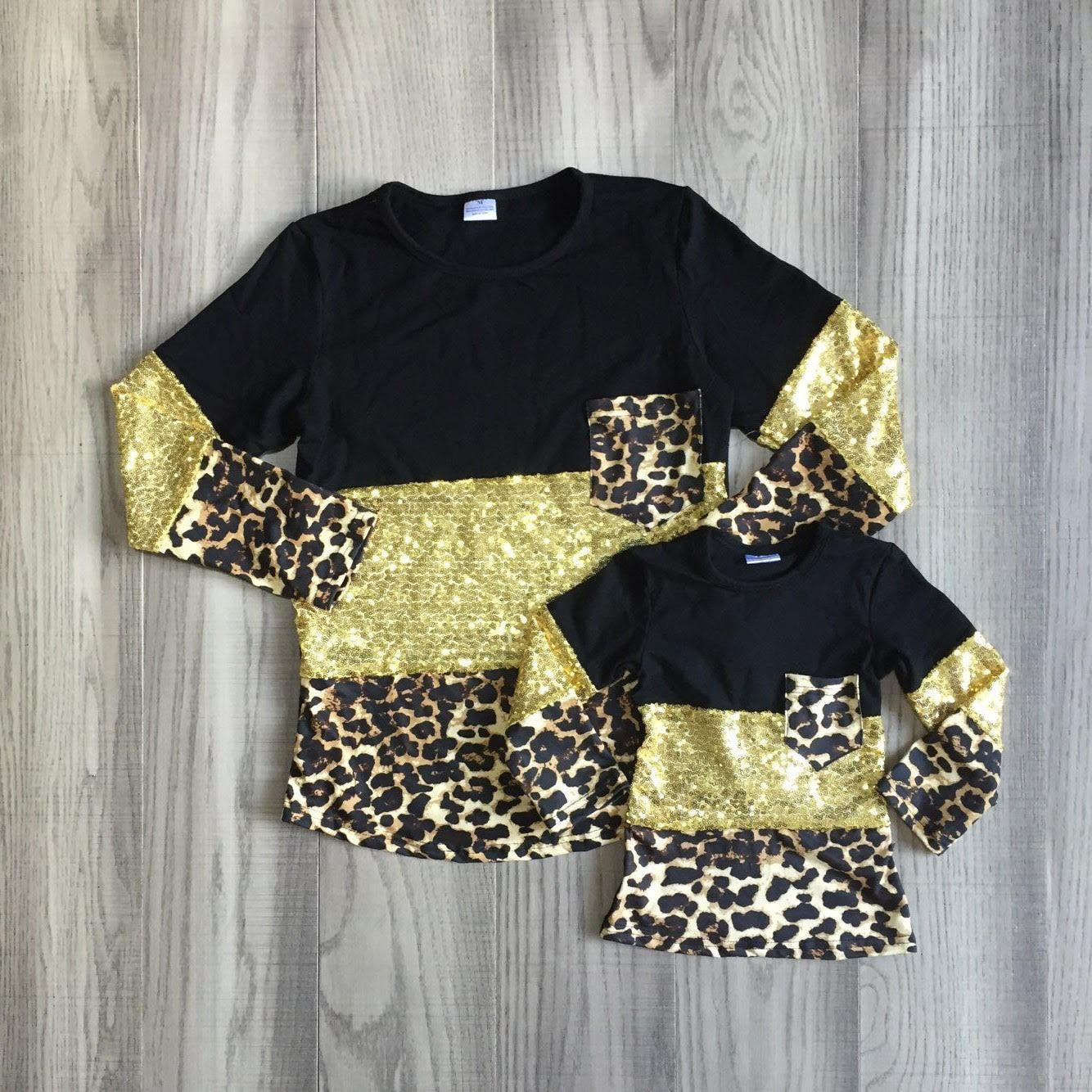 Black and Gold Sequin Leopard Pocket Tee (Adult)