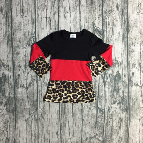[PREORDER] Black and Red Colorblocked Leopard Tee (Child)