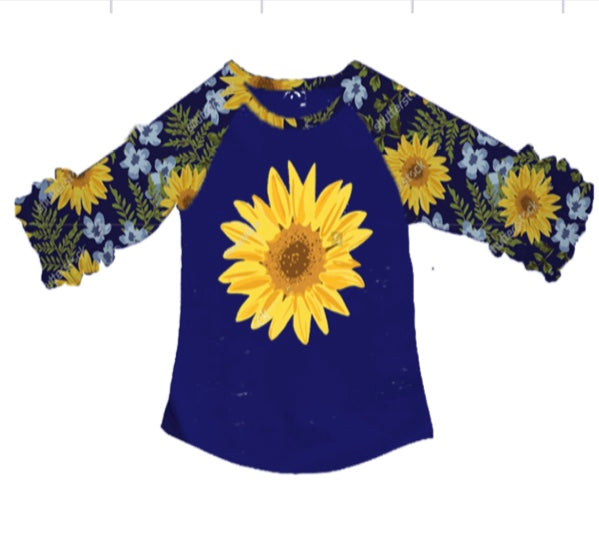 [PREORDER] Fall Preorder: Blue Sunflowers Ruffle Sleeve Tee