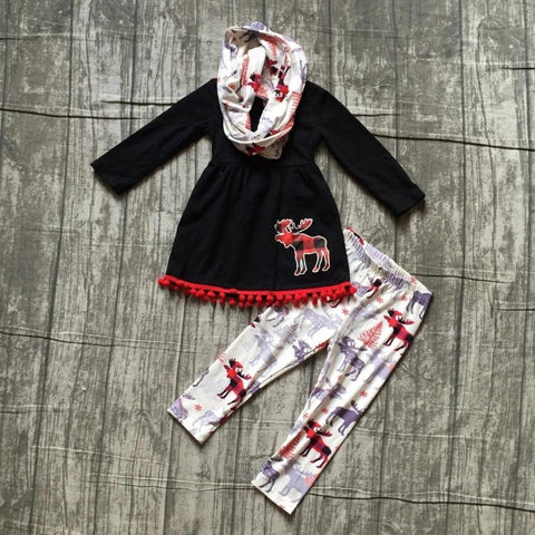 Fall Preorder: Buffalo Plaid Moose Pom Scarf Outfit