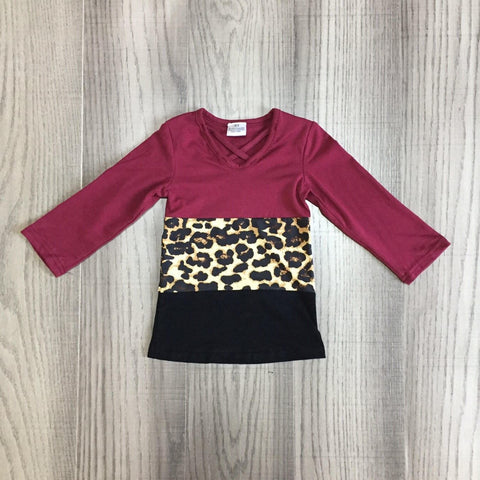 [PREORDER] Burgundy V Neck Leopard Colorblocked Tee (Child)