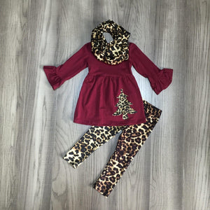Brick Red and Leopard Tree Scarf Outfit