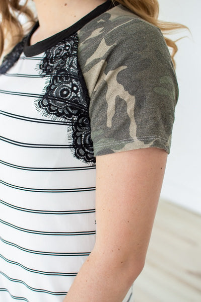 Little Bit of Lace T-shirt Dress | Camo