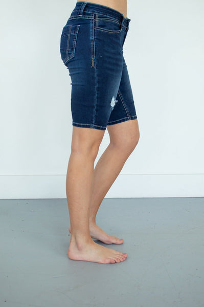 Brandi Bermudas | Dark Wash Light Distress
