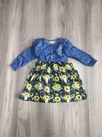 Fall Preorder: Denim Sunflowers and Steer Dress
