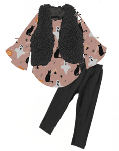 [PREORDER] Fall Preorder: Dusty Rose Cats and Ghosts Fuzzy Vest Outfit