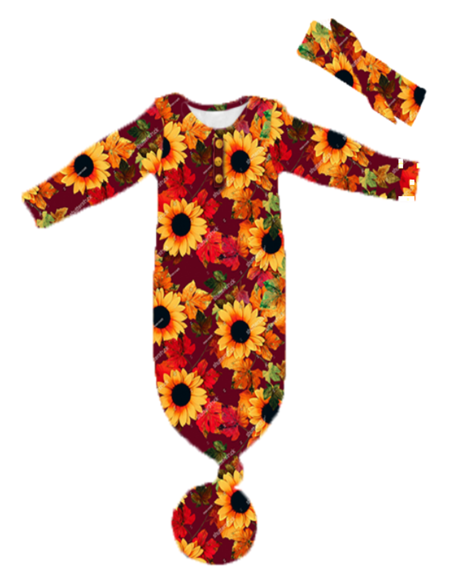 [PREORDER] Fall Preorder: Floral Gown with Headband - Brick Red