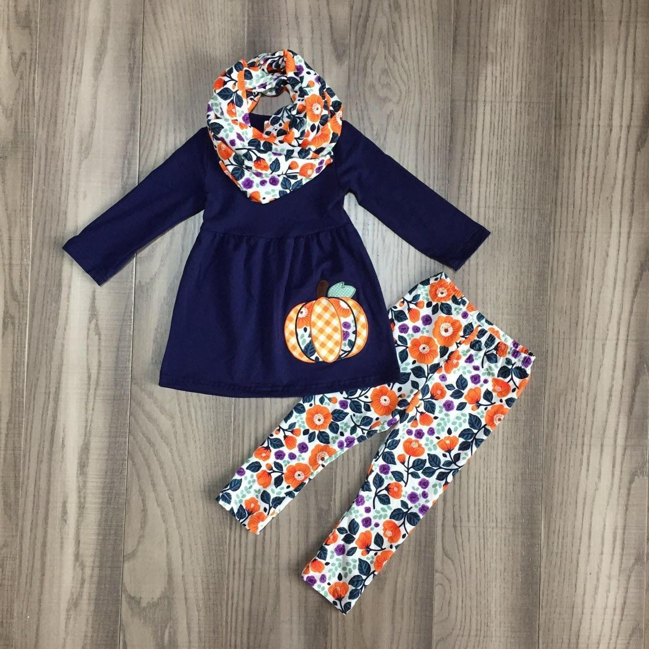 Floral Pumpkins Scarf Outfit