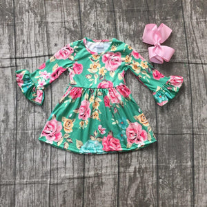 Fall Preorder: Green and pink floral ruffle sleeve dress