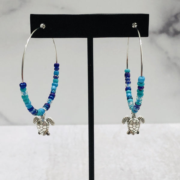Aqua Turtle Hoop Earrings