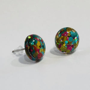 12mm Multicolored Glitter Resin Stud Earrings with Stainless Steel Posts - Bold & Bright Boutique