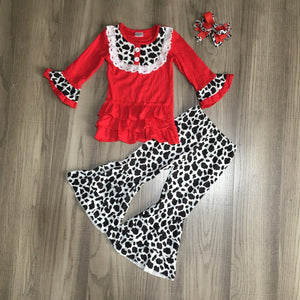 Red Cow Print Tiered Ruffle Bell Bottoms Outfit - [PREORDER] Fall Preorder