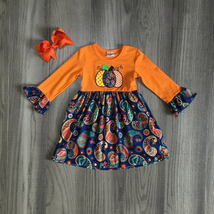 [PREORDER] Orange Paisley Pumpkin Dress