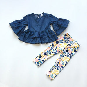 [PREORDER] Blue Bell-Sleeved Ruffle Top with Floral Leggings