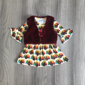 [PREORDER] Ivory Turkey Gobble Dress with Vest