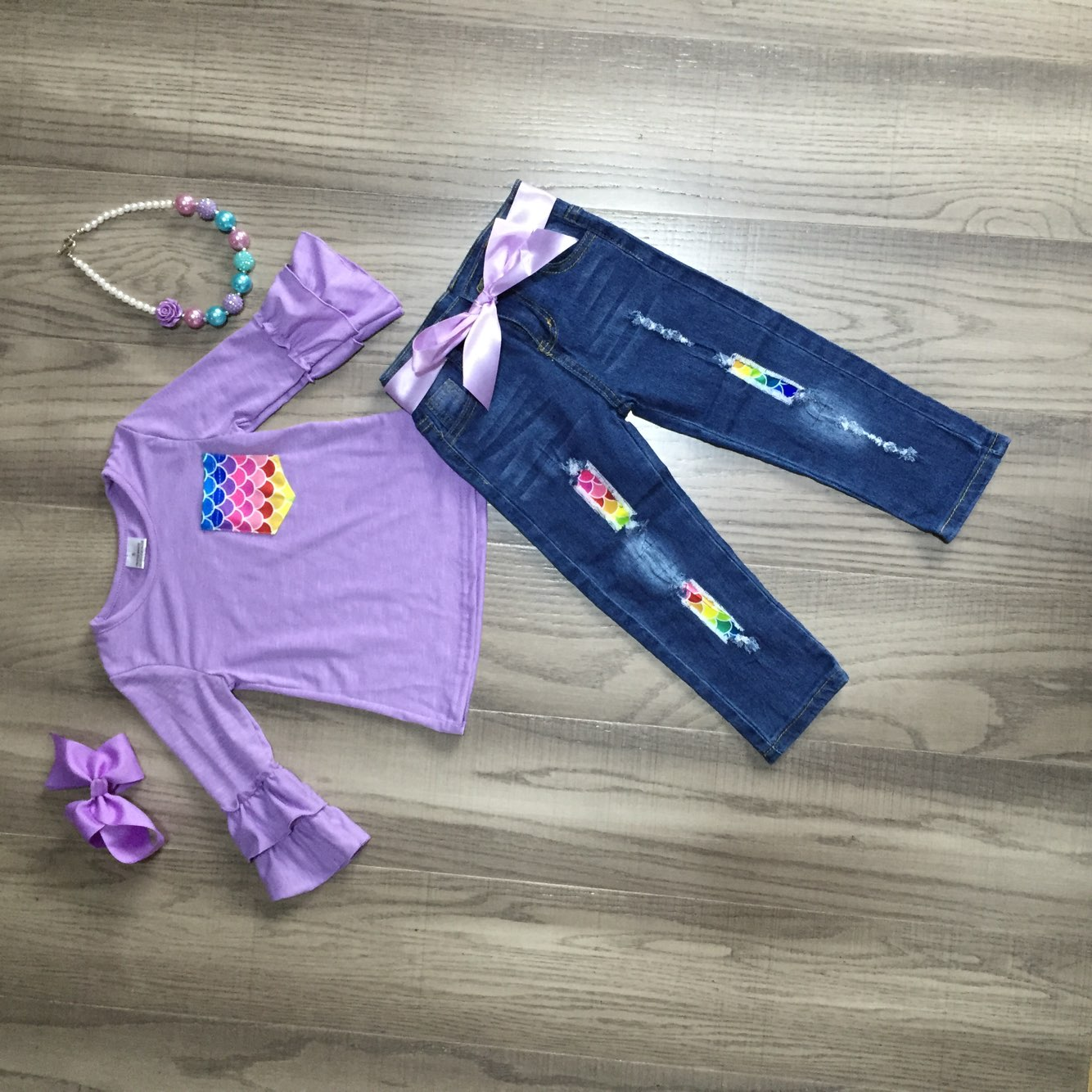 Purple Mermaid Ruffle Sleeve Denim Outfit - [PREORDER] Fall Preorder