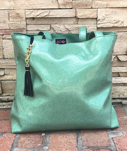 Kelly glitter Makeup Junkie tote